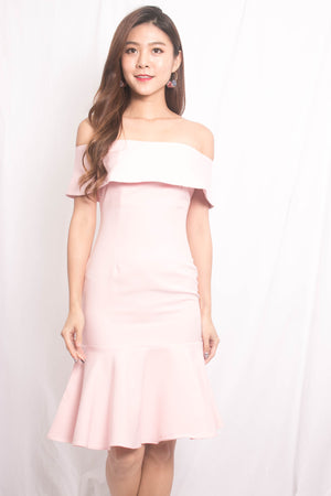 * LUXE * Jowina Off Shoulder Dress in Pink