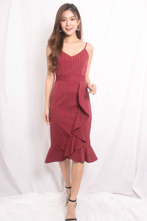 Jewel Stripes Flutter Dress in Red