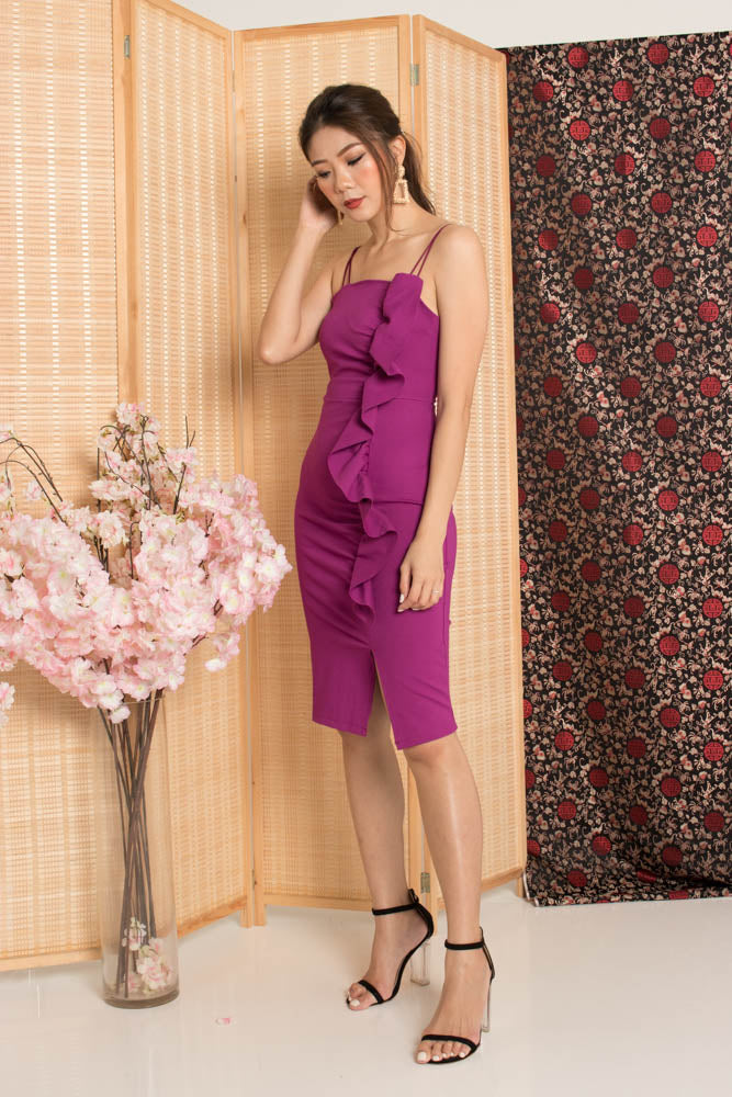 Load image into Gallery viewer, * PREMIUM* - Giolia Flutter Double Straps Dress in Magenta - Self Manufactured by LBRLABEL