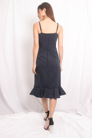 Jewel Stripes Flutter Dress in Navy