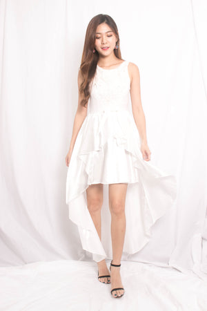 * LUXE * Jamila Mesh Asymmetrical Gown Dress in White