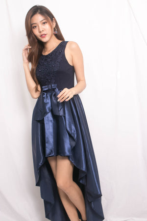 * LUXE * Jamila Mesh Asymmetrical Gown Dress in Navy