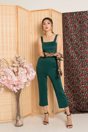 Load image into Gallery viewer, * PREMIUM * - Stacelia Midi Jumpsuit in Emerald Green - Self Manufactured by LBRLABEL
