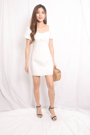 Wilea Babydoll Sleeve Dress in White