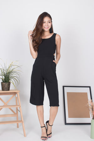 Marissa Zipper Midi Romper in Black