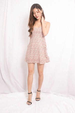 Uika Babydoll Floral Dress in Cream