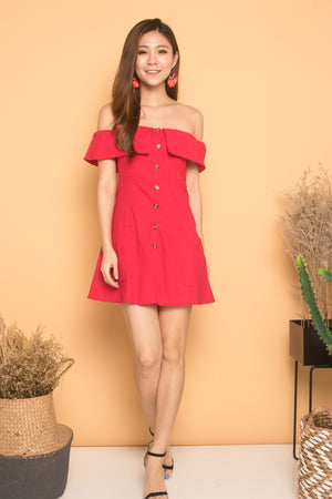 Load image into Gallery viewer, Madeali Offsie Button Dress in Red