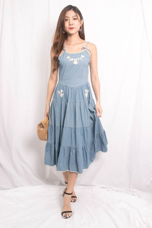 Load image into Gallery viewer, * LUXE* Emera Embroided Maxi Dress in Denim