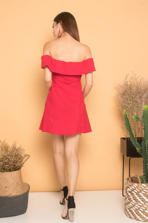Madeali Offsie Button Dress in Red
