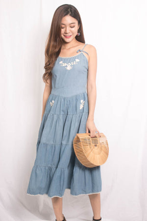 * LUXE* Emera Embroided Maxi Dress in Denim