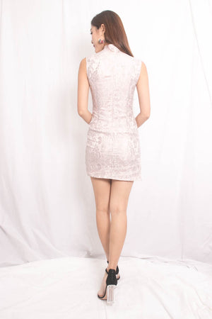 *PREMIUM* PEARLIA CHEONGSAM DRESS IN PINK - SELF MANUFACTURED BY LBRLABEL