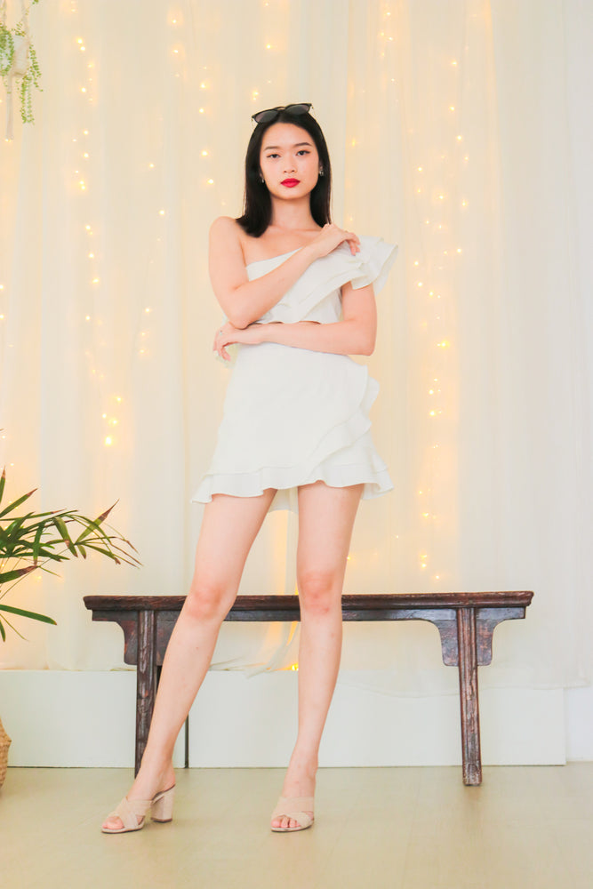 Load image into Gallery viewer, * PREMIUM * - Celeslia Ruffles Skorts in White - Self Manufactured by LBRLABEL only