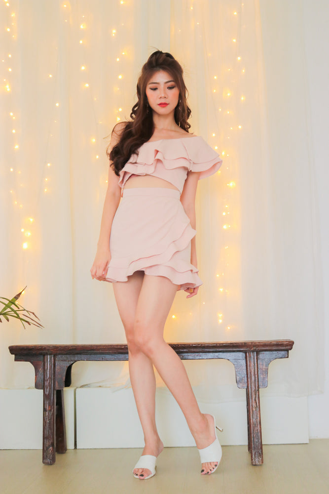 Load image into Gallery viewer, * PREMIUM * - Celeslia Ruffles Toga Top in Pink - Self Manufactured by LBRLABEL only