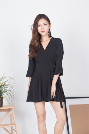 Emm Sleeved Romper in Black
