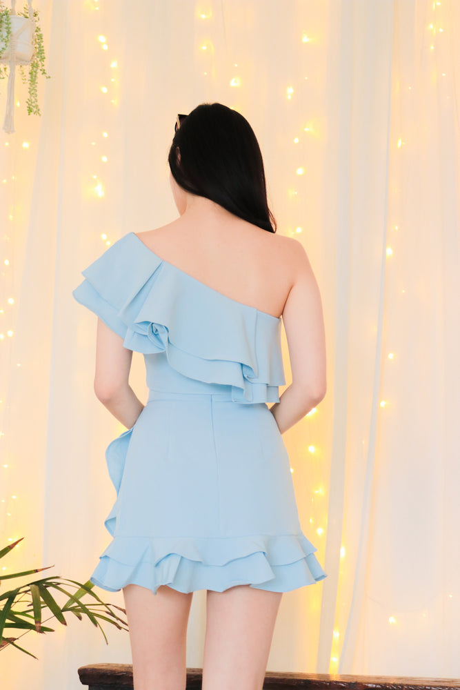 Load image into Gallery viewer, * PREMIUM * - Celeslia Ruffles Skorts in Blue - Self Manufactured by LBRLABEL only