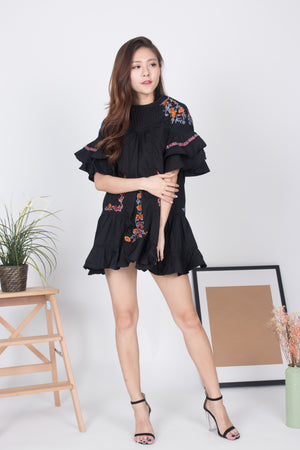 LUXE - ANGELA EMBROIDED FLARE DRESS IN BLACK