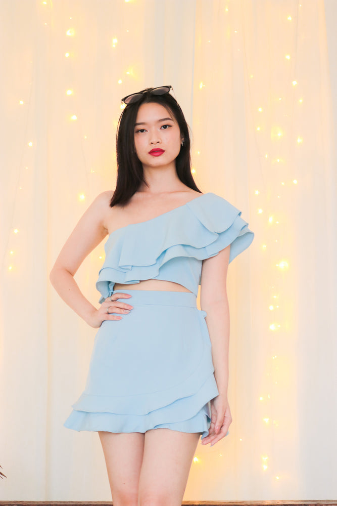 Load image into Gallery viewer, * PREMIUM * - Celeslia Ruffles Toga Top in Blue - Self Manufactured by LBRLABEL only