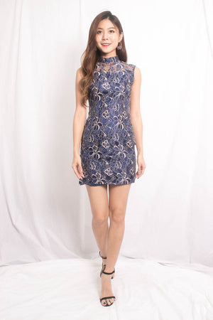 *PREMIUM* PEARLIA CHEONGSAM DRESS IN NAVY - SELF MANUFACTURED BY LBRLABEL