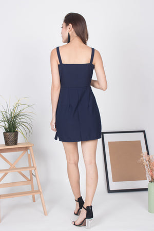 Angelique Belted Dress in Navy