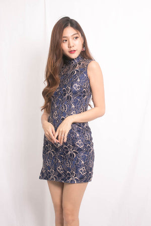 Load image into Gallery viewer, *PREMIUM* PEARLIA CHEONGSAM DRESS IN NAVY - SELF MANUFACTURED BY LBRLABEL