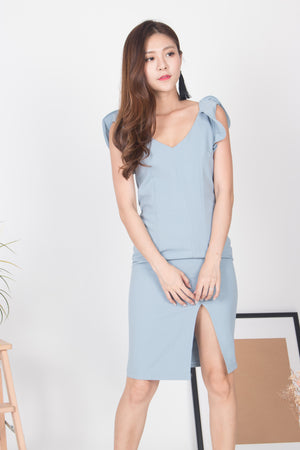 Aggy Flutter Sleeves Dress in Blue