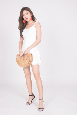 Orelia Flutter Dress in White