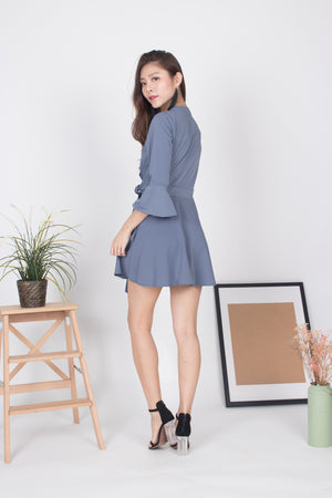 Emm Sleeved Romper in Grey Blue