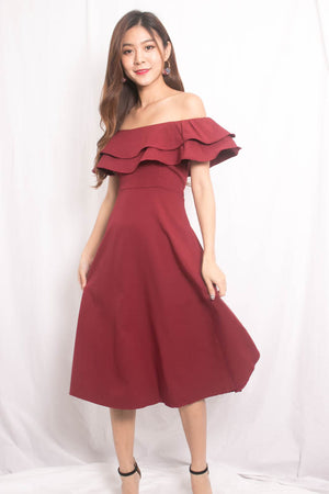 Lynda Flutter Off Shoulder Dress in Burgundy