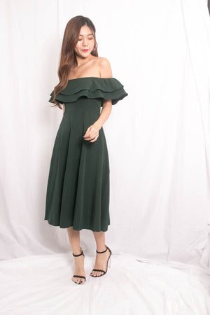 Lynda Flutter Off Shoulder Dress in Green