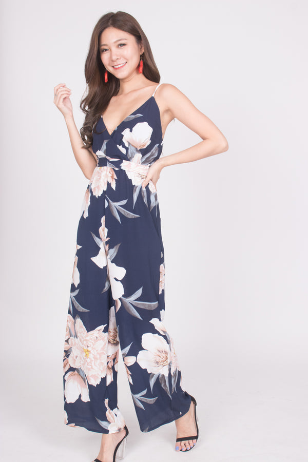 *LUXE* Angelyna Floral Jumpsuit in Navy