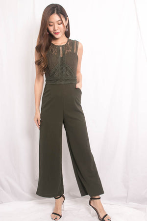 Novile Crochet Jumpsuit in Army Green