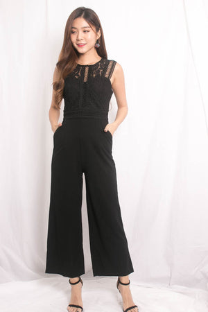 Novile Crochet Jumpsuit in Black