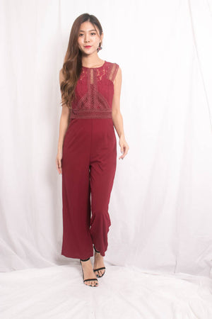 Novile Crochet Jumpsuit in Burgundy