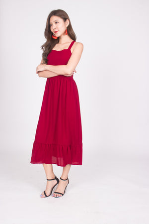 Load image into Gallery viewer, * PREMIUM * Derelia Cross Back Midi Dress in Burgundy - LBRLABEL MANUFACTURED