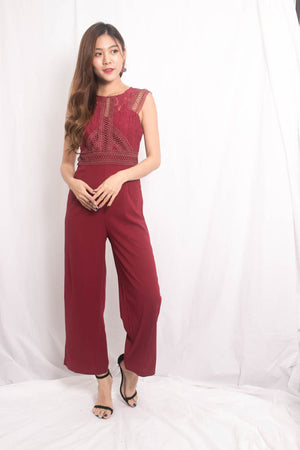 Load image into Gallery viewer, Novile Crochet Jumpsuit in Burgundy
