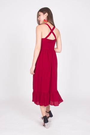 * PREMIUM * Derelia Cross Back Midi Dress in Burgundy - LBRLABEL MANUFACTURED
