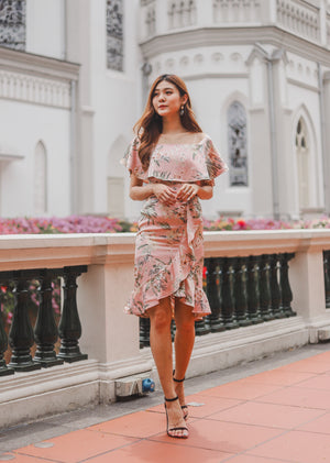 *PREMIUM* - Hathalia Floral Flutter Dress in Pink - Self Manufactured by LBRLABEL