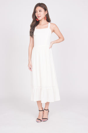 Load image into Gallery viewer, * PREMIUM * Derelia Cross Back Midi Dress in Cream - LBRLABEL MANUFACTURED