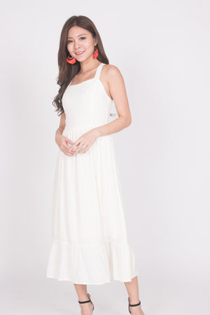 * PREMIUM * Derelia Cross Back Midi Dress in Cream - LBRLABEL MANUFACTURED