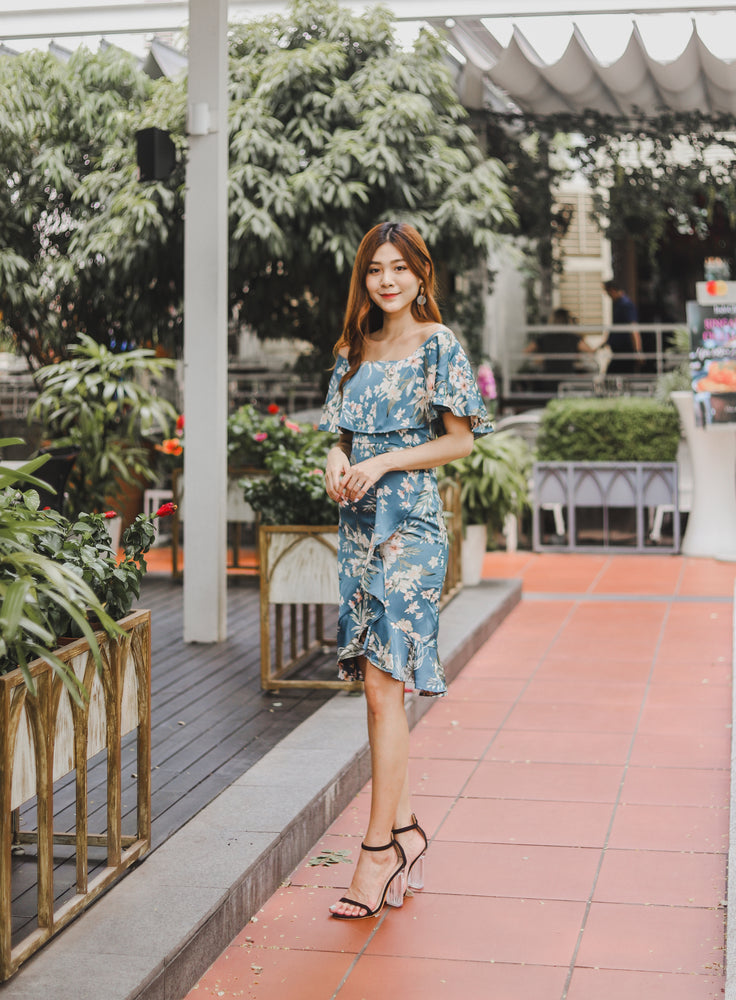 Load image into Gallery viewer, *PREMIUM * - Hathalia Floral Flutter Dress in Blue - Self Manufactured by LBRLABEL