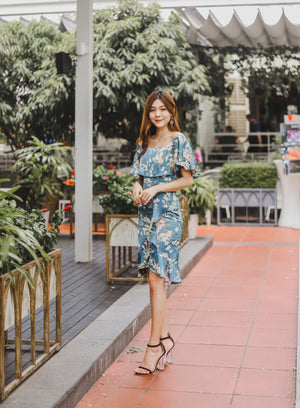 *PREMIUM * - Hathalia Floral Flutter Dress in Blue - Self Manufactured by LBRLABEL