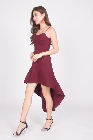 * PREMIUM * Amarilia Fishtail Dress in Burgundy -  LBRLABEL MANUFACTURED