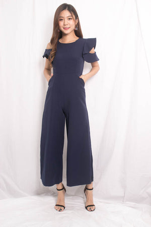 Load image into Gallery viewer, Nedrila Sleeved Flutter Jumpsuit in Navy
