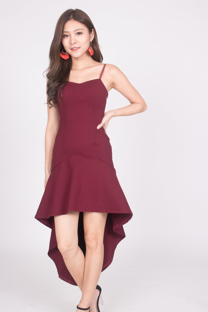 Load image into Gallery viewer, * PREMIUM * Amarilia Fishtail Dress in Burgundy -  LBRLABEL MANUFACTURED