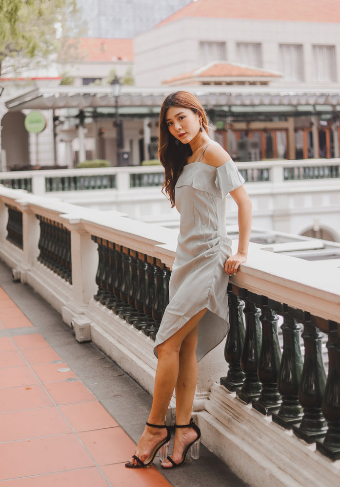 Load image into Gallery viewer, Ily Asymmetrical Dress in Sage