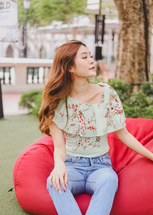 Load image into Gallery viewer, *PREMIUM* - Plerilia Floral Toga Top in Mint - Self Manufactured by LBRLABEL only
