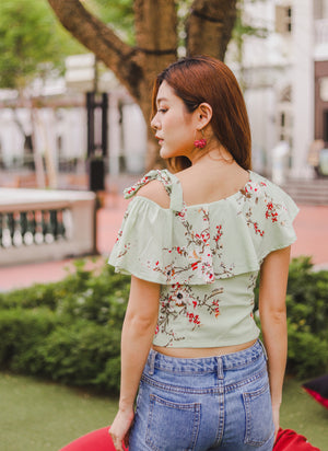 *PREMIUM* - Plerilia Floral Toga Top in Mint - Self Manufactured by LBRLABEL only