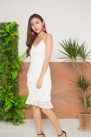 *LUXE* - Damia Flutter Lace Dress in White