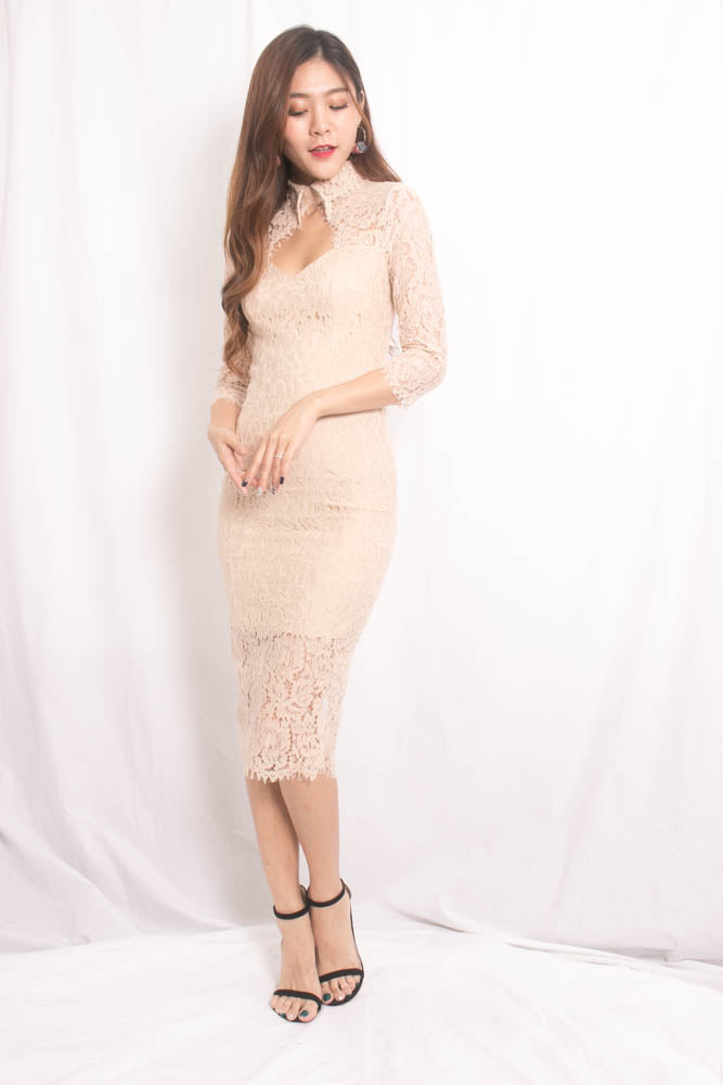Load image into Gallery viewer, * LUXE* Mariann Crochet Midi Dress in Nude