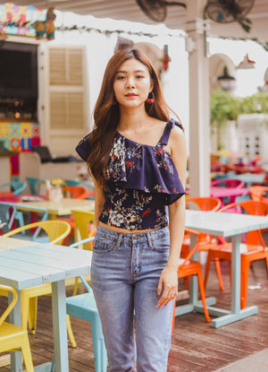 *PREMIUM* - Plerilia Floral Toga Top in Navy - Self Manufactured by LBRLABEL only